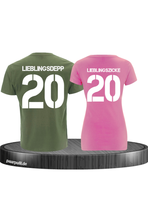 lieblingsdepp lieblingszicke partnerlook shirts in khaki rosa