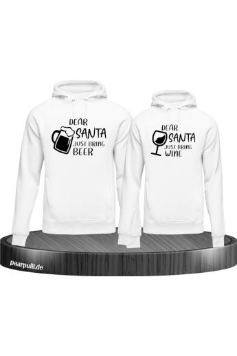 Dear Santa just bring beer / wine weiß partnerlook hoodies