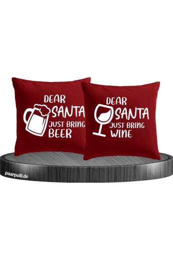Dear Santa just bring beer / Wine Kissen Set rot