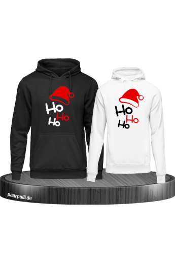 Ho Ho Ho Partnerlook Hoodies in schwarz weiß