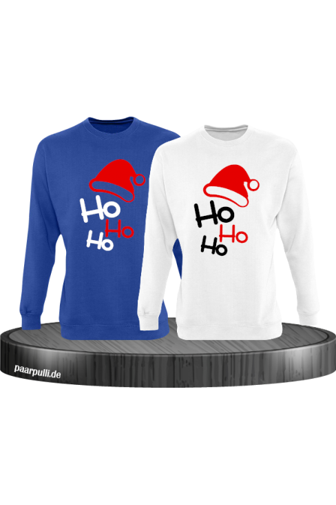 Ho Ho Ho Partnerlook Sweatshirts in blau weiß