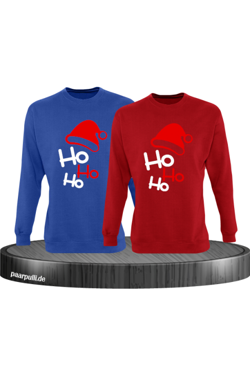 Ho Ho Ho Partnerlook Sweatshirts in blau rot