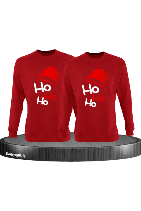 Ho Ho Ho Partnerlook Sweatshirts in rot