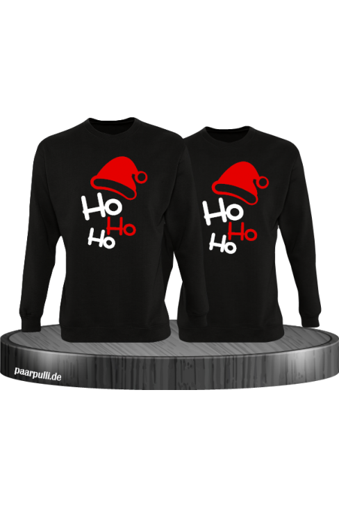 Ho Ho Ho Partnerlook Sweatshirts in schwarz