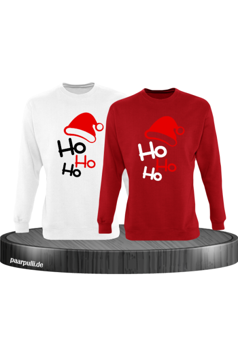 Ho Ho Ho Partnerlook Sweatshirts in weiß rot
