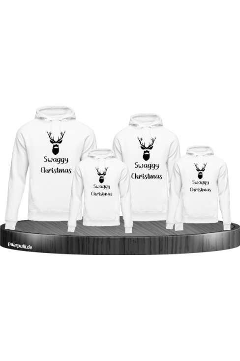 Swaggy Christmas 4er Hoodies in weiß