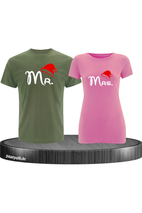 Mr. und Mrs. Partnerlook T-Shirts in khaki rosa