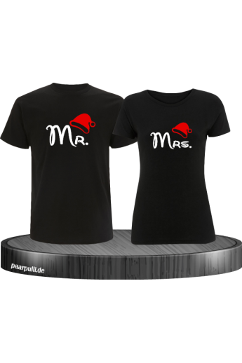 Mr. und Mrs. Partnerlook T-Shirts in schwarz