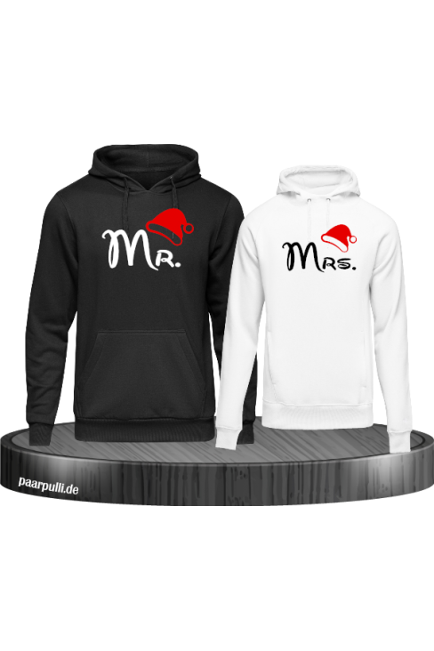 Mr. und Mrs. Partnerlook Hoodies in schwarz weiß