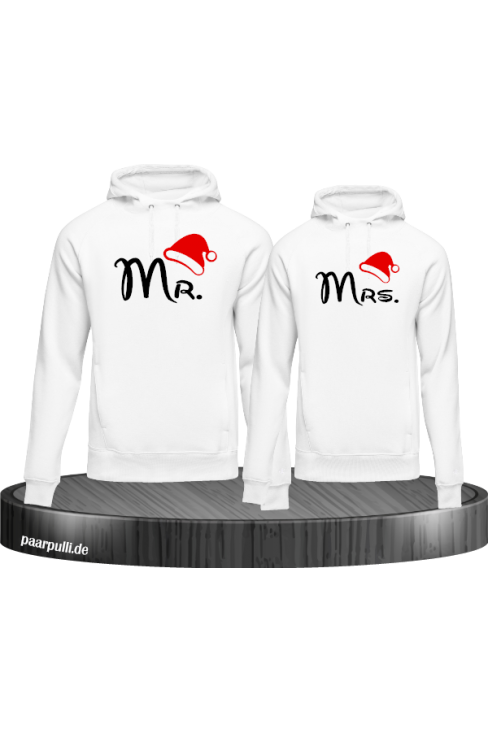 Mr. und Mrs. Partnerlook Hoodies in weiß