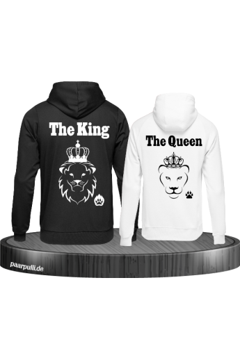 The King The Queen Lion Design partnerlook hoodies schwarz weiß