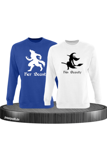 her Beast und his Beauty mit Werwolf und Hexe Halloween Partnerlook Sweatshirts