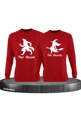 her beast his beauty partnerlook sweatshirts in rot