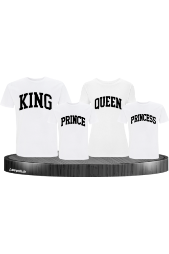 King Queen Prince Princess mit kurviger Form Familienlook T-Shirts