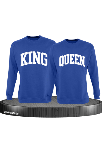King und Queen Pärchen Sweatshirts in blau