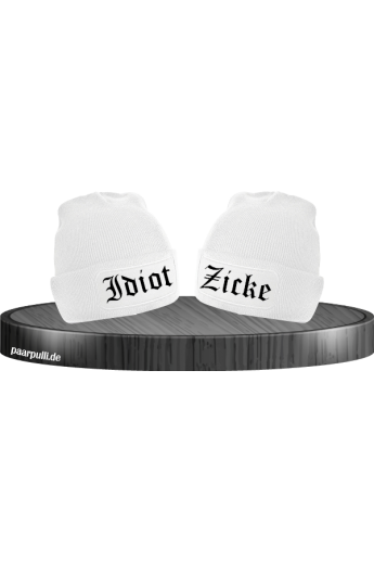 Idiot zicke partnerlook beanies in weiß