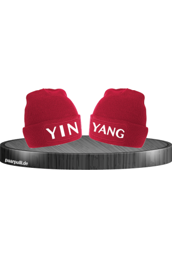 Yin Yang Partnerlook Beanies in rot