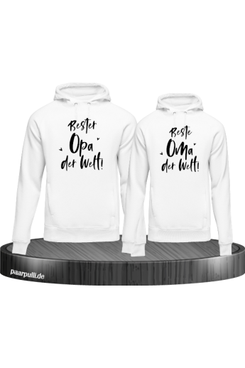 Bester Opa und Beste Oma Partnerlook Hoodies in weiß