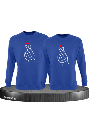 Fingerherzen Partnerlook Sweatshirts in blau