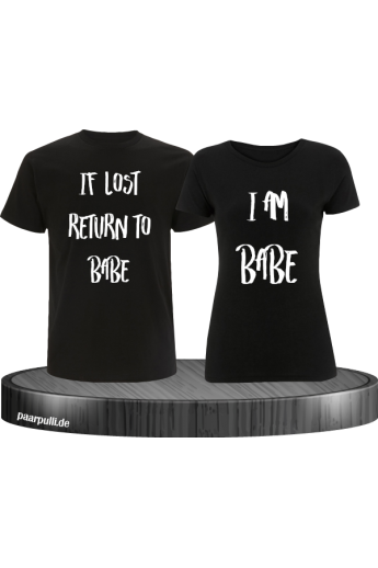 If lost return to babe t shirts in schwarz