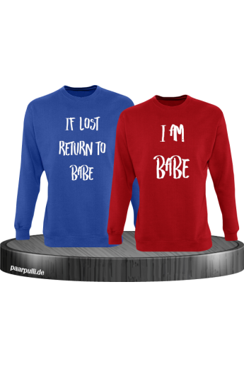 If lost return to babe pärchen sweatshirt in blau rot