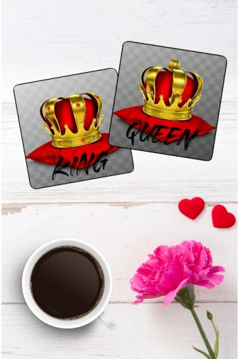 Tassen Untersetzer Partnerlook King & Queen Set