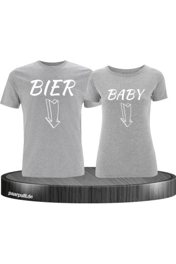Bier und Baby Partnerlook T Shirts in grau