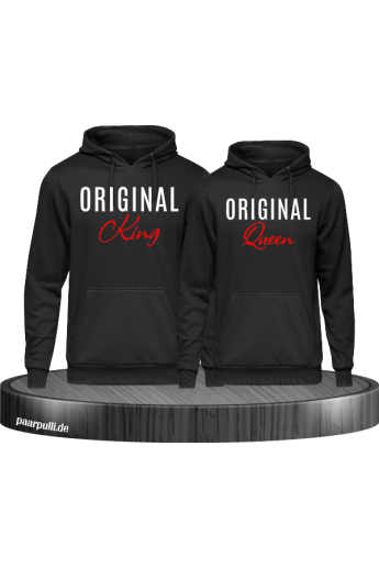 Original King und Original Queen Partnerlook Hoodies in schwarz