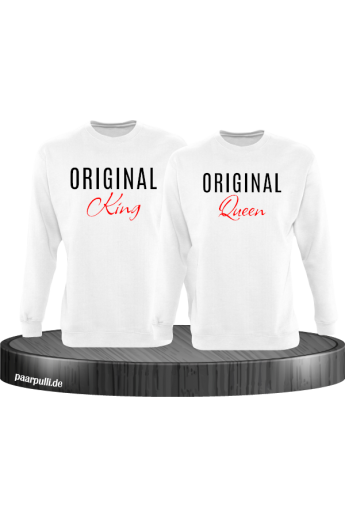 Original King und Original Queen Partner Sweatshirts in weiß