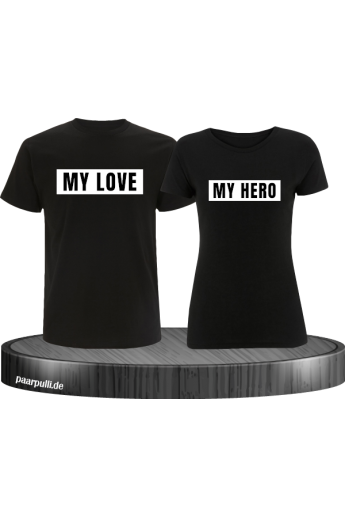 My Love My Hero Partner T-Shirts in Schwarz