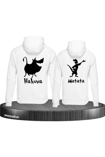 Hakuna Matata Partnerlook Hoodies in weiß